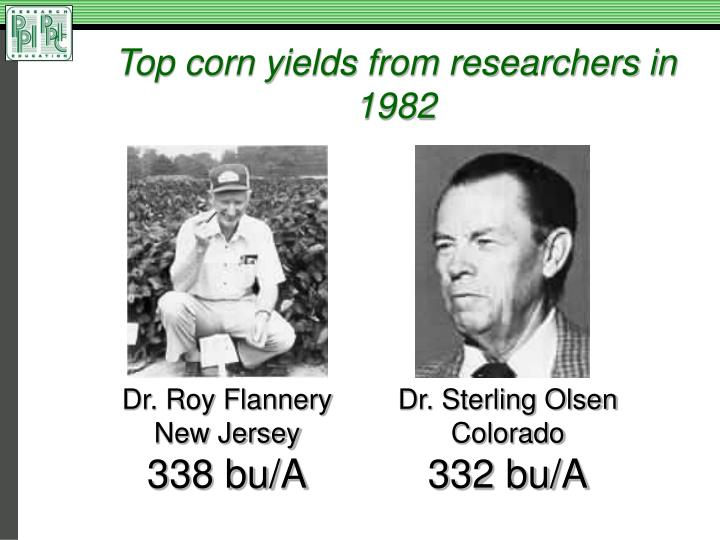 Top corn yields from researchers in 1982
