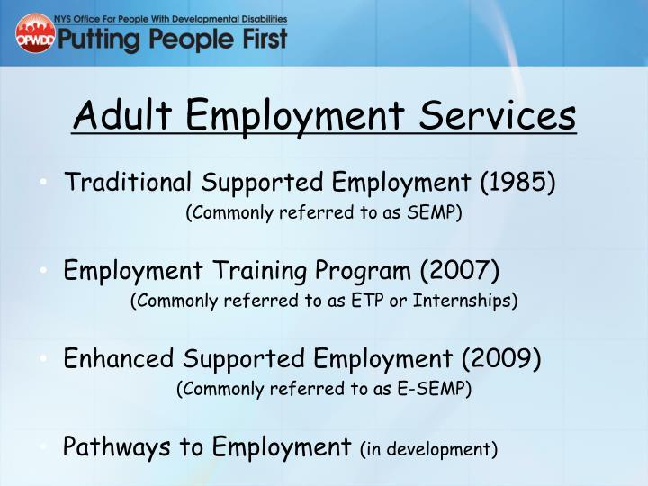 Adult Employment Services
