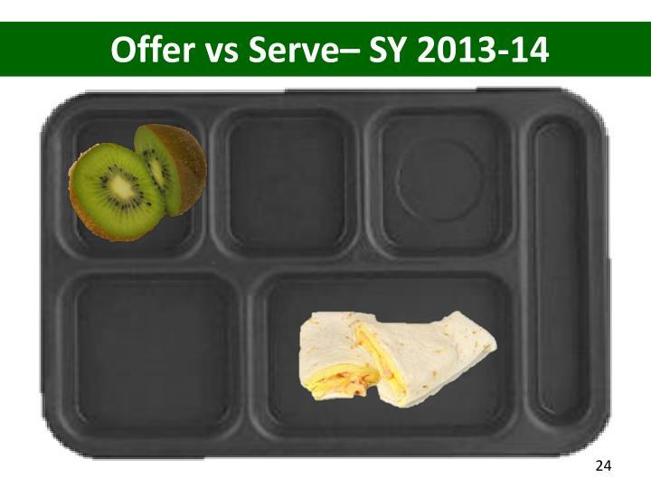 Offer vs Serve– SY 2013-14