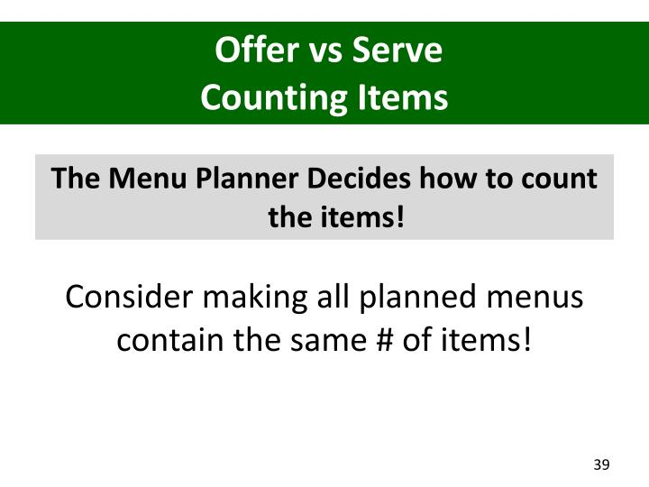 Offer vs Serve