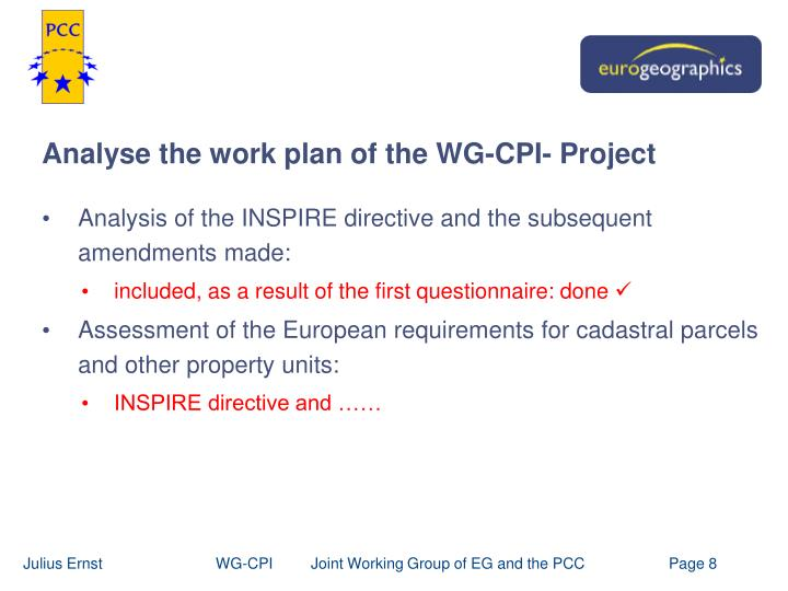 Analyse the work plan of the WG-CPI- Project