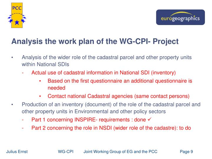 Analysis the work plan of the WG-CPI- Project