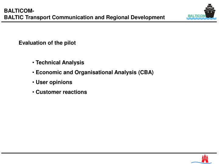 Evaluation of the pilot