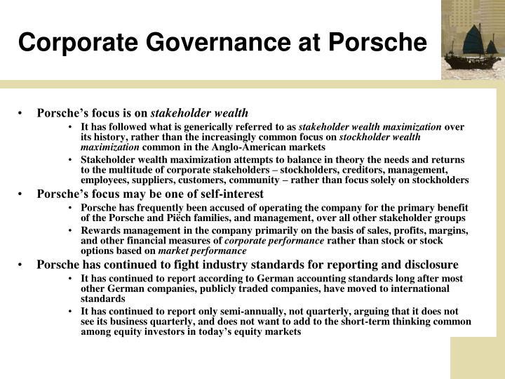 Corporate Governance at Porsche