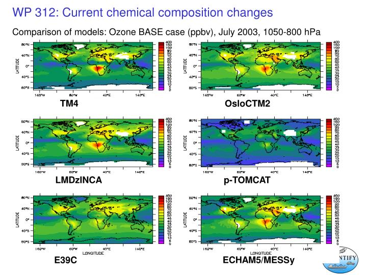 Comparison of models: Ozone BASE case (ppbv), July 2003, 1050-800 hPa