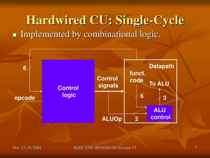 Hardwired CU: Single-Cycle