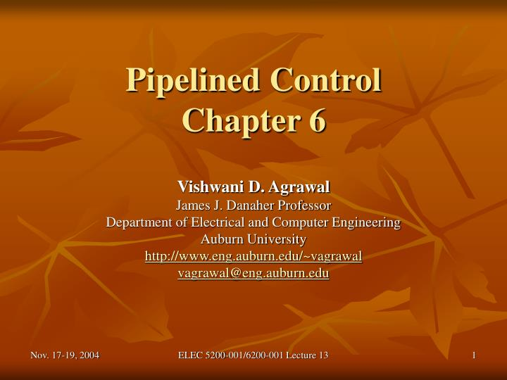 Pipelined control chapter 6