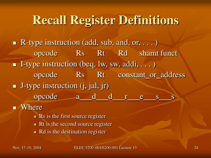 Recall Register Definitions
