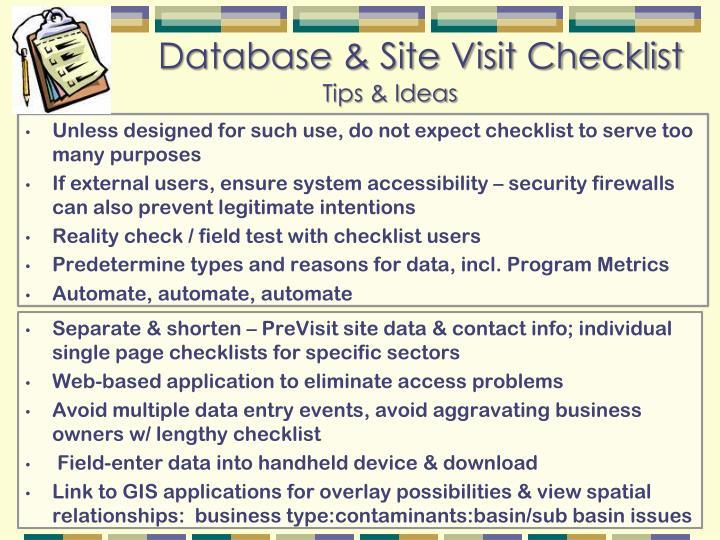 Database & Site Visit Checklist