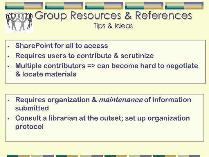 Group Resources & References