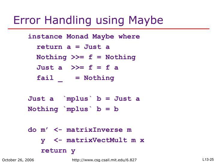 Error Handling using Maybe