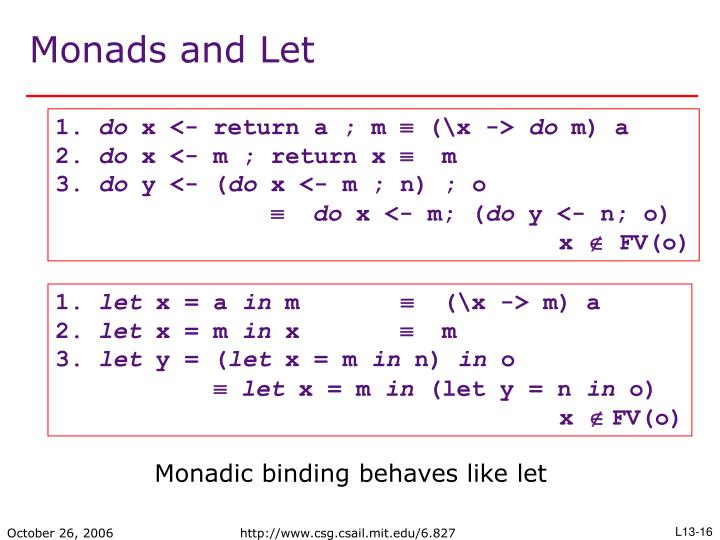 Monads and Let