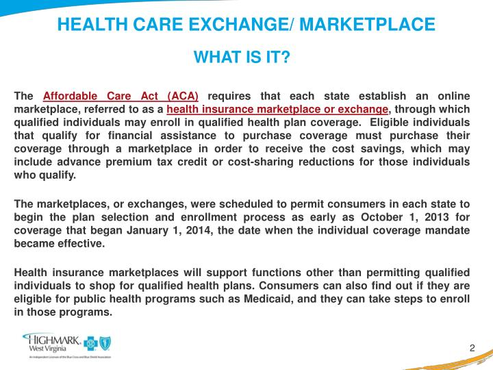 Health care exchange marketplace
