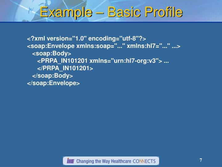 Example – Basic Profile