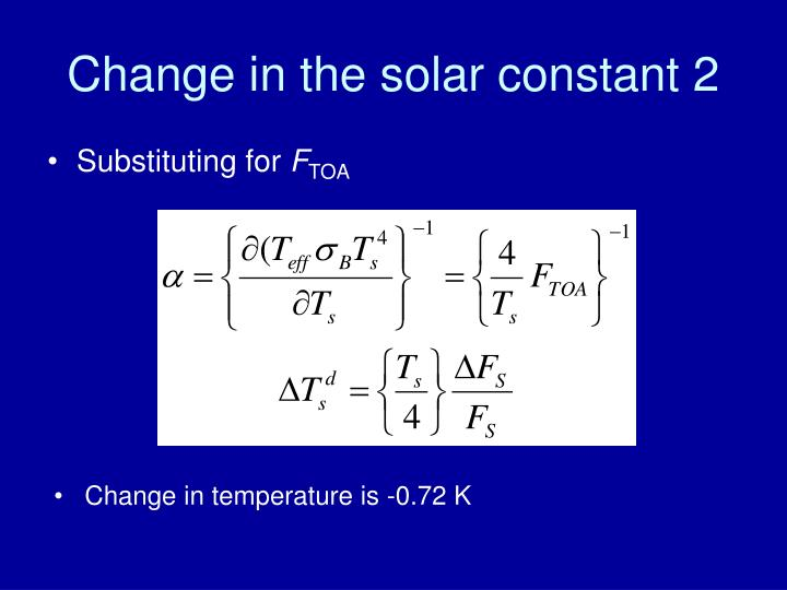 Change in the solar constant 2