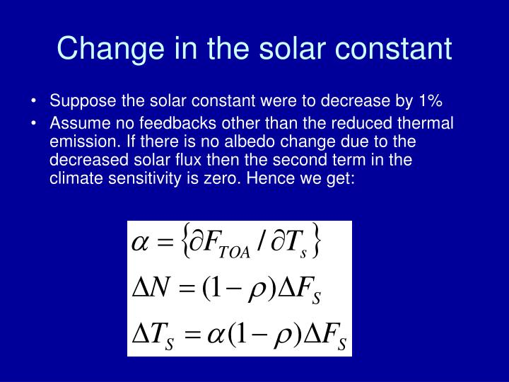 Change in the solar constant