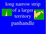 long narrow strip of a larger territory