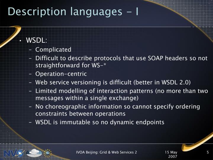 Description languages - I