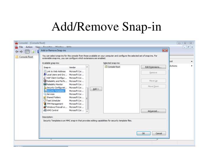 Add/Remove Snap-in