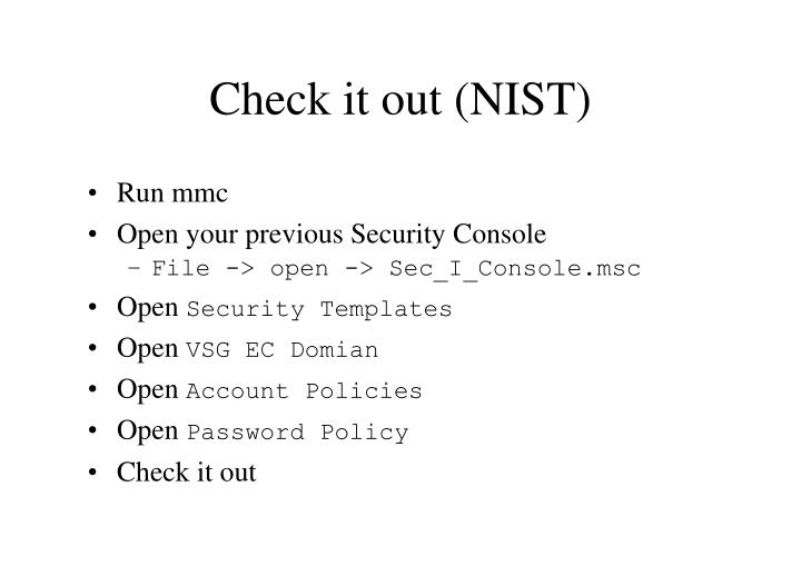 Check it out (NIST)