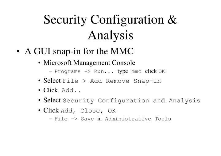 Security Configuration &