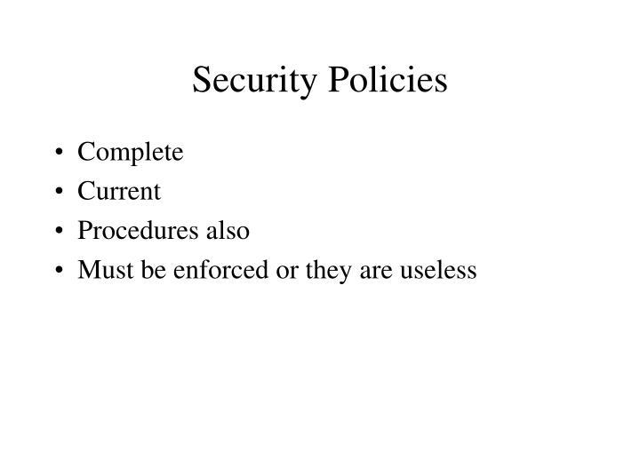 Security policies