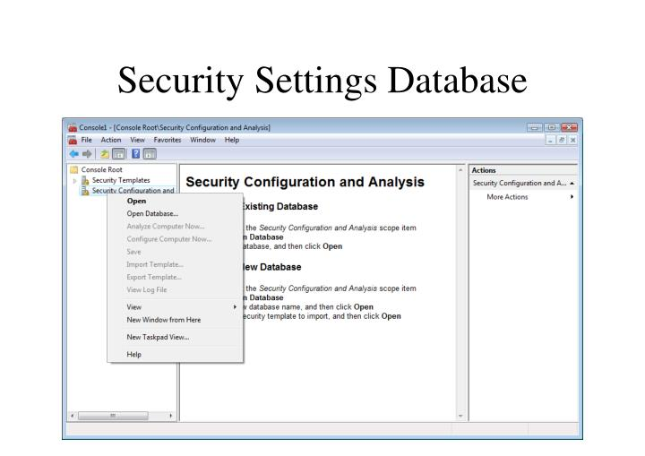 Security Settings Database
