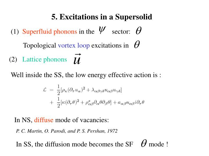 5. Excitations in a Supersolid