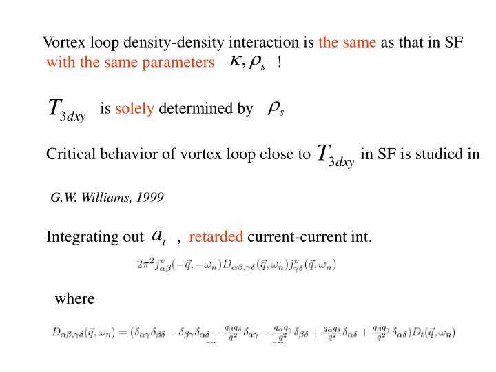 Vortex loop density-density interaction is