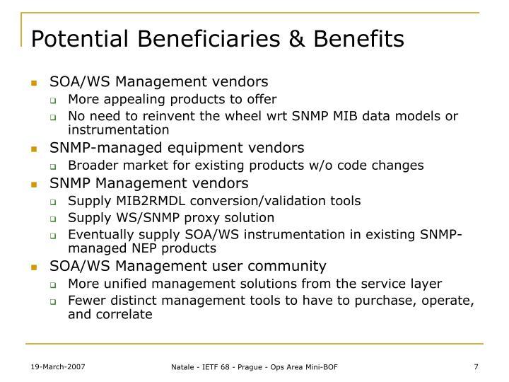 Potential Beneficiaries & Benefits
