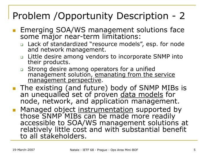 Problem /Opportunity Description - 2