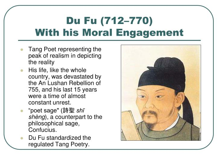 Tang Poet representing the peak of realism in depicting the reality