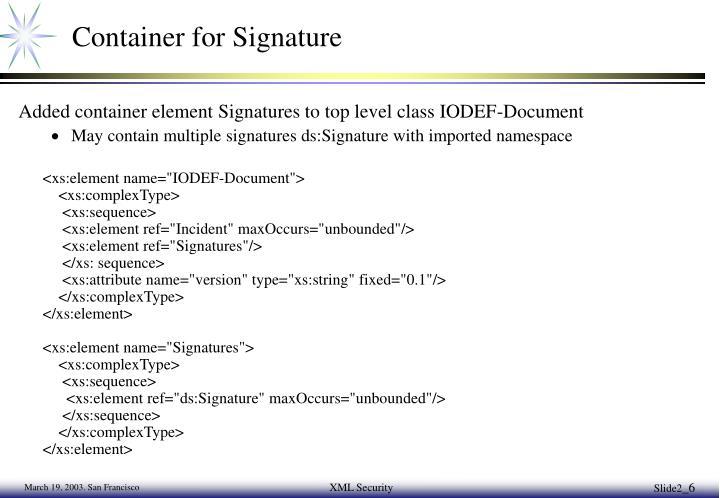 Container for Signature