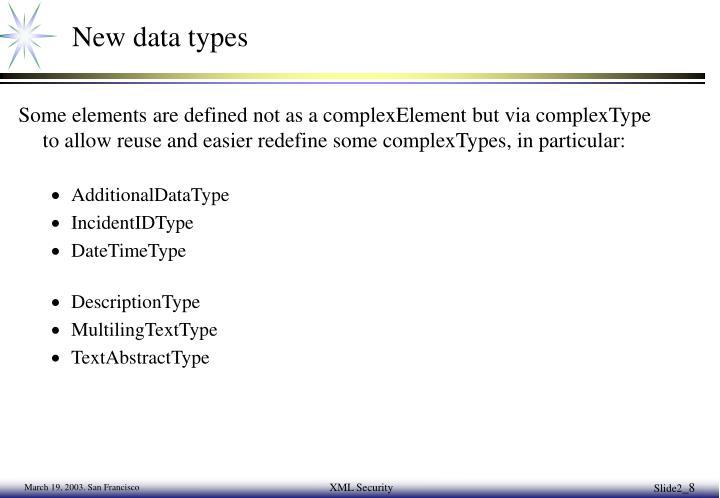 New data types