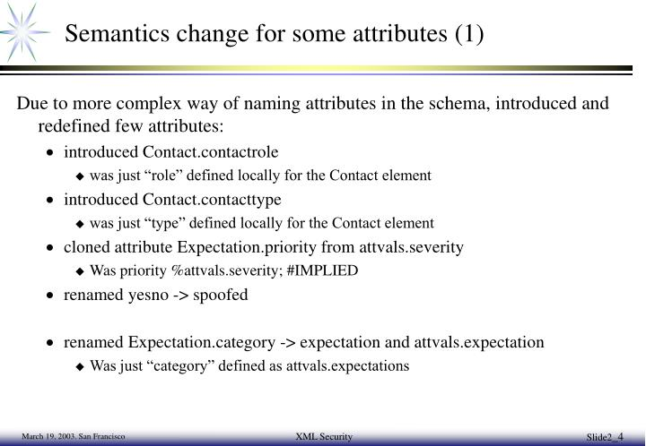 Semantics change for some attributes (1)