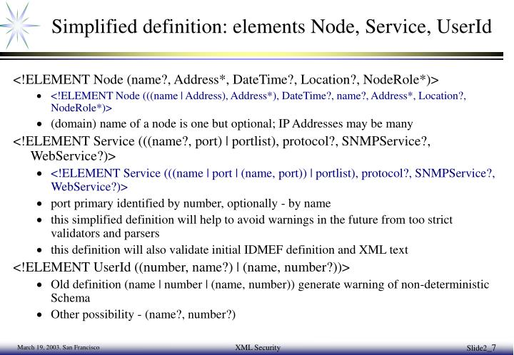 Simplified definition: elements Node, Service, UserId