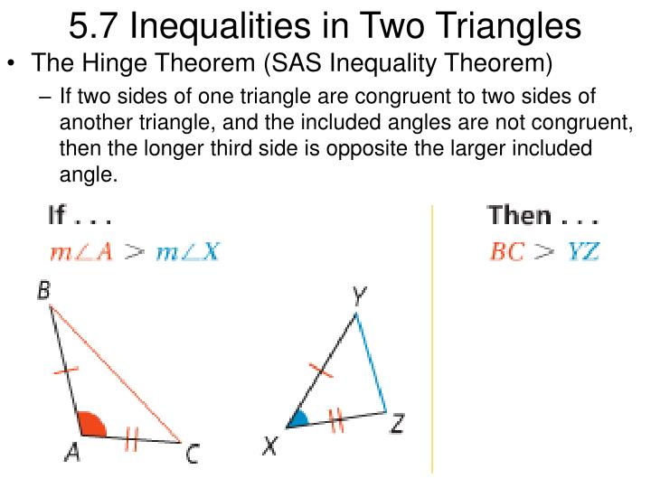 PPT 5 7 Inequalities In Two Triangles PowerPoint
