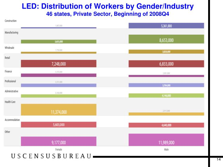LED: Distribution of Workers by Gender/Industry