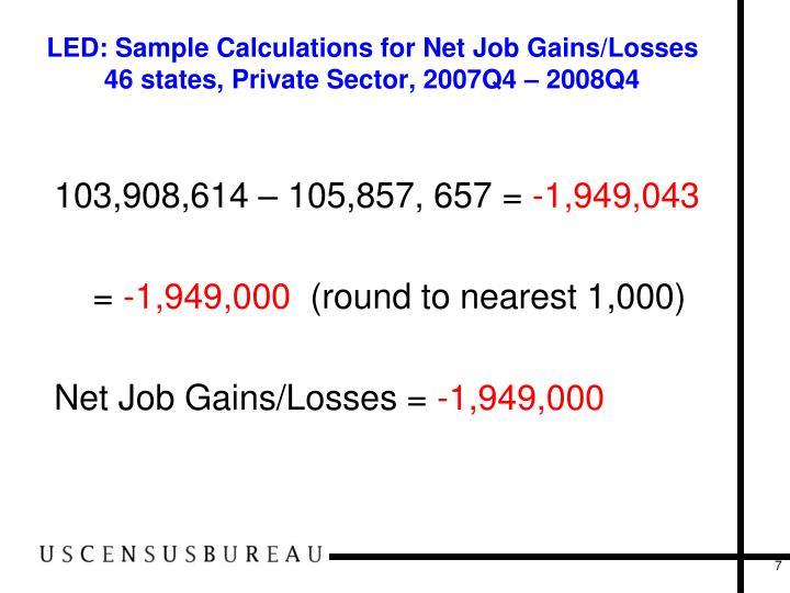LED: Sample Calculations for Net Job Gains/Losses