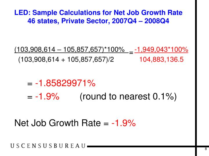 LED: Sample Calculations for Net Job Growth Rate