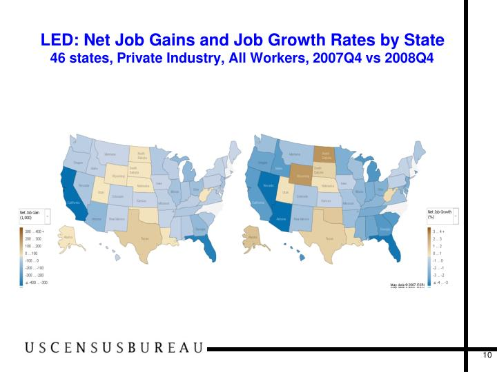LED: Net Job Gains and Job Growth Rates by State