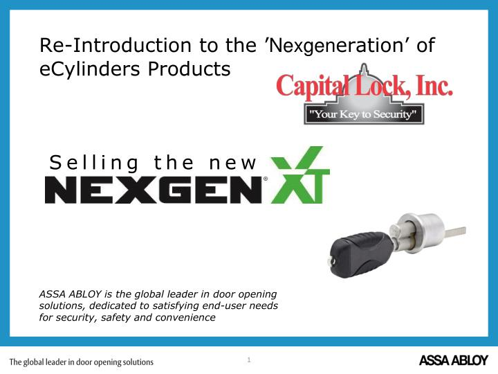 re introduction to the nexgen eration of ecylinders products n.