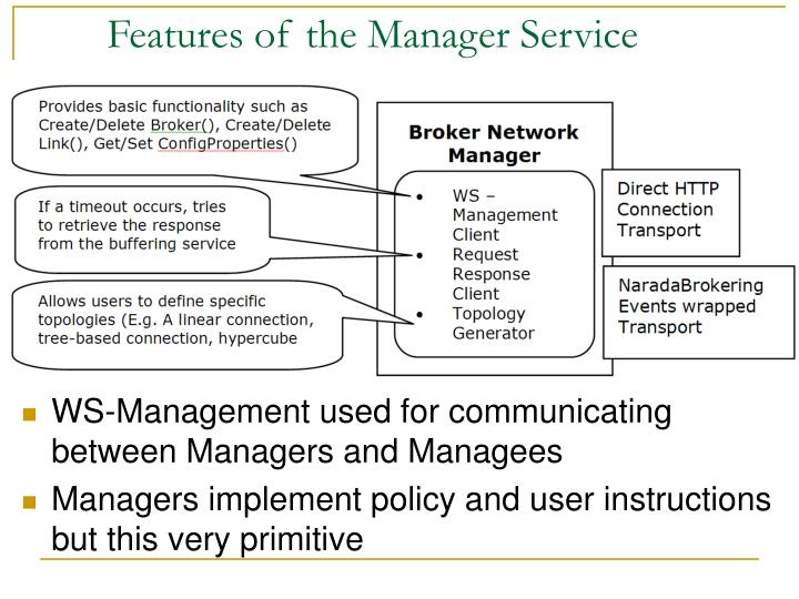 Features of the Manager Service