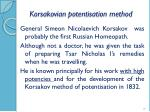 korsakovian potentisation method