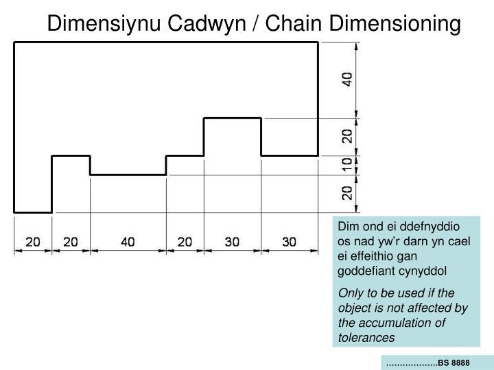 Dimensiynu Cadwyn / Chain Dimensioning