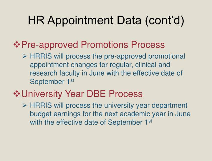 HR Appointment Data (cont'd)