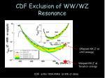 cdf exclusion of ww wz resonance