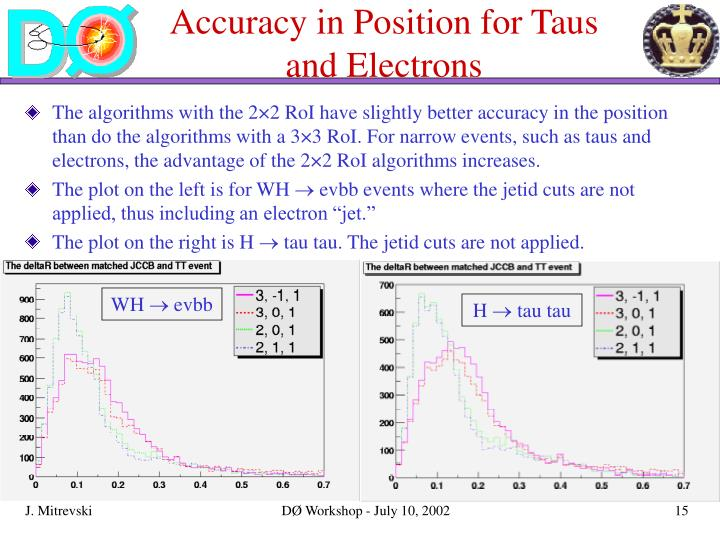 Accuracy in Position for Taus and Electrons