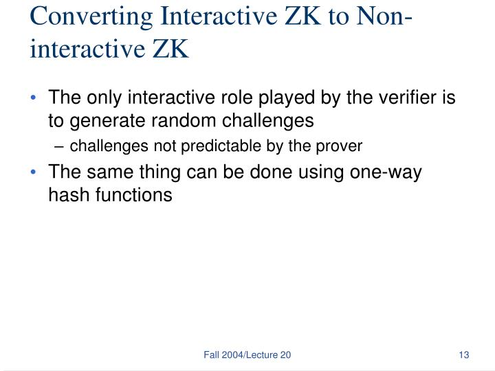 Converting Interactive ZK to Non-interactive ZK