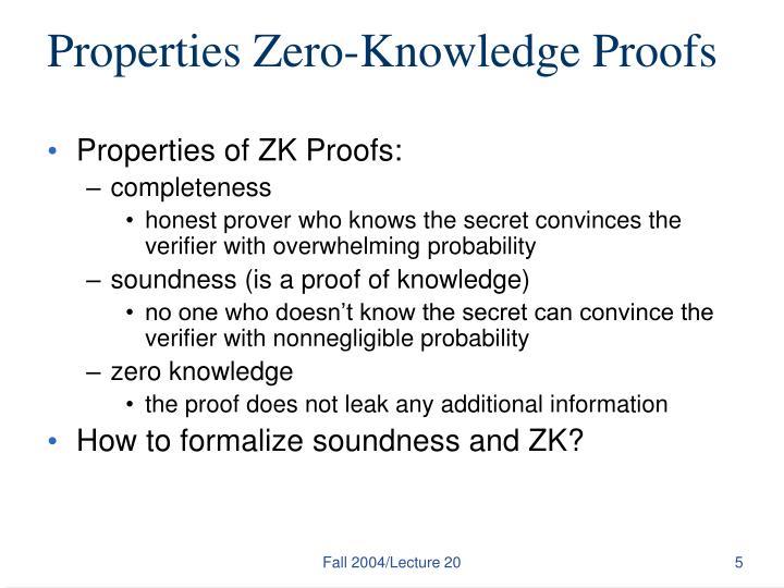 Properties Zero-Knowledge Proofs